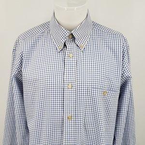 Men's Orvis Long Sleeve Shirt Blue Gingham Large